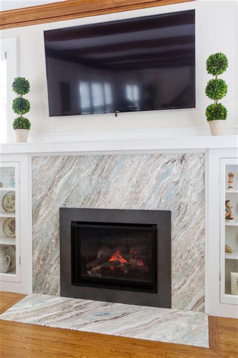 brushed fantasy brown quartzite fireplace modern