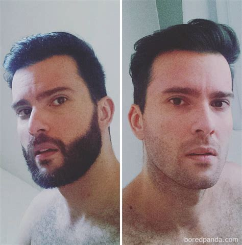 what percentage of men over 40 shave their pubic hairs 40 men before after shaving their beards bored panda