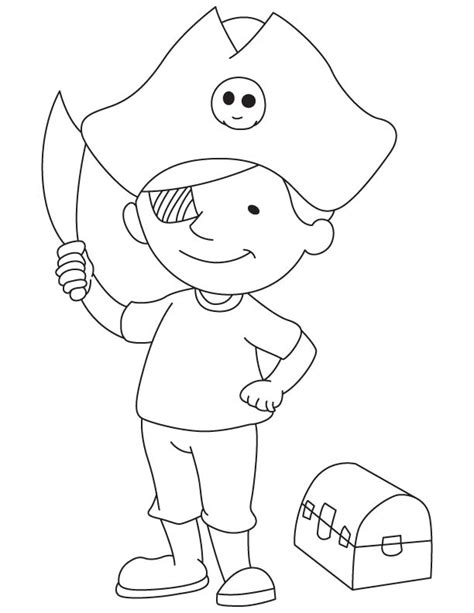 pirate boy coloring page pirate boy with treasure chest download free pirate boy