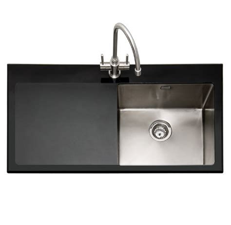 Kitchen Cabinet Systems by Caple Vitrea 100 Bk Black Glass And Stainless Steel Sink