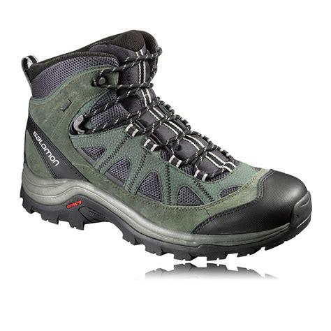 mens salomon walking boots salomon authentic mens green black tex waterproof