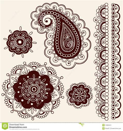 henna pattern vector henna mehndi flowers and paisley vector stock vector