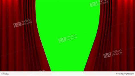 green screen curtain red curtain with green screen opening scene stock