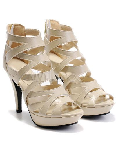 Sandal Selop Vogue Creme fashion coloured 3 9 10 high heel nappa gladiator sandals for milanoo