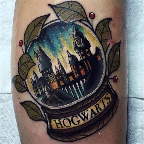 ink addiction tattoos awesome hogwarts snow globe by chrisstockings