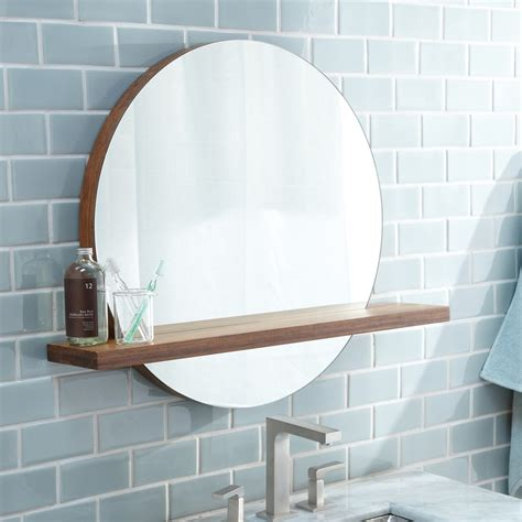 Round Bathroom Mirror With Shelf | solace round bamboo mirror with shelf mc222 native trails