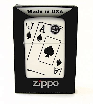 zippo ace and spades white matte lighter 24696