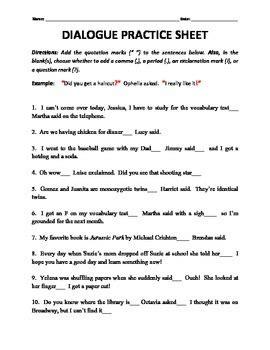 Dialogue Practice Worksheets dialogue tags and end punctuation practice by h shah