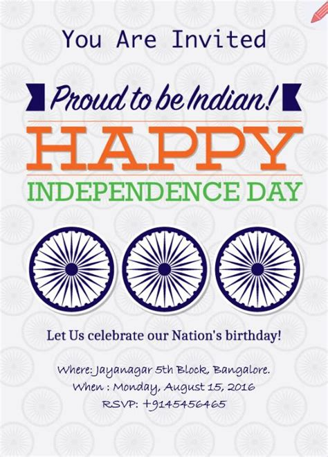 29 Day Cards Templates by Independence Day Celebration E Invite Card Indian
