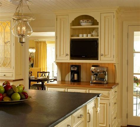 Buttercream Kitchen Cabinets Cabinets Buttercream Enamel With Glaze Beaded Inset With Raised Panel Door Countertop