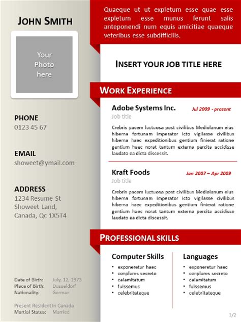 powerpoint resume templates clean resume cv template for powerpoint