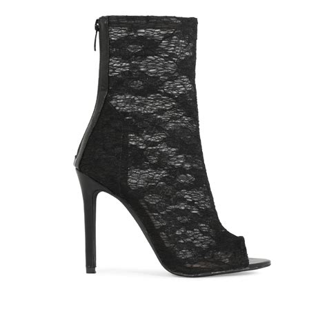 womens zip up see through mesh lace detail peep toe ankle
