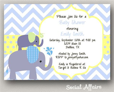 Elephant Baby Boy Shower Invitations by Items Similar To Elephant Baby Shower Invitation Boy Diy