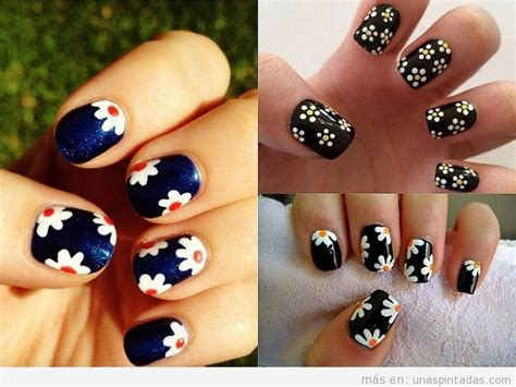 imagenes de uñas decoradas en tonos oscuros decoraciones de u 241 as con margaritas dise 241 os ideales para