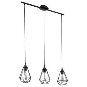 suspension industriel tarbes m 233 tal noir 3 x 60 w eglo