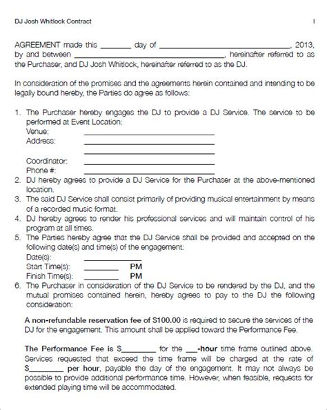 contract of agreement template 8 dj contract templates free word pdf documents