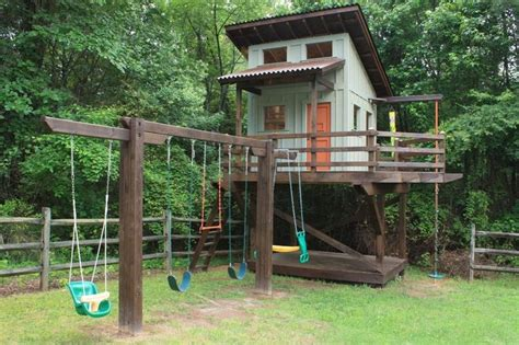swing set playhouse plans kids elevated playhouse plans woodworking projects plans
