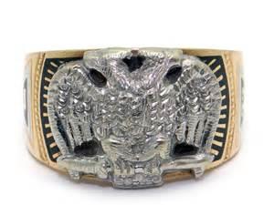 mens 10k yellow white gold 32nd masonic enamel band ring size