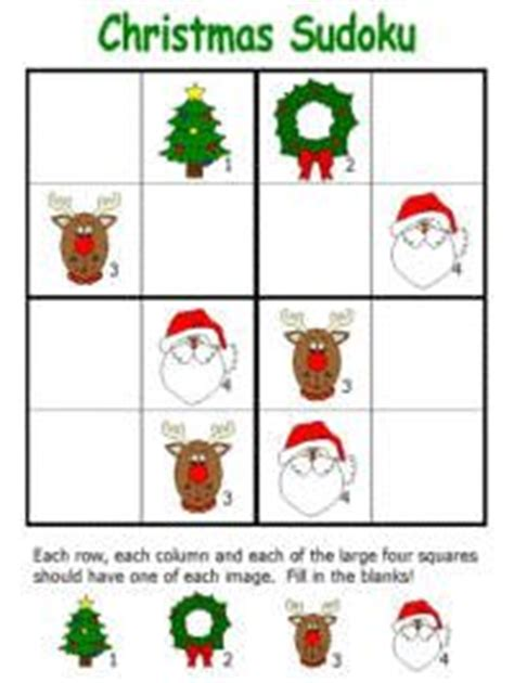 printable holiday sudoku 1000 images about kerst rekenactiviteiten on pinterest