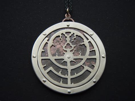 planispheric astrolabe pendant handcut sterling silver and