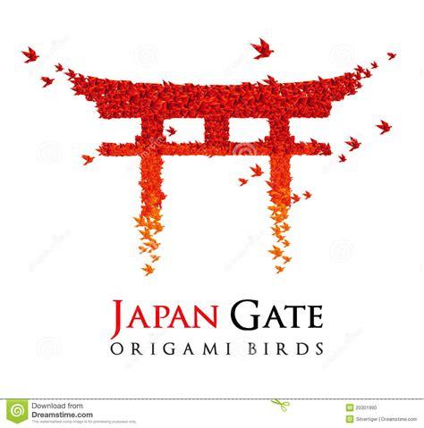 japan design japan origami gate torii stock illustration image of bird