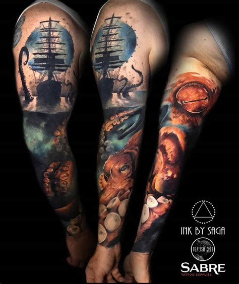 sea monster tattoo designs kraken sea mens sleeve best design ideas