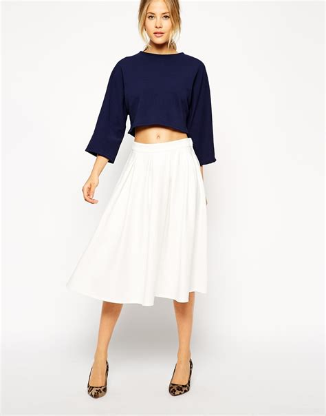 asos midi skirt in ponte with pleats in white lyst