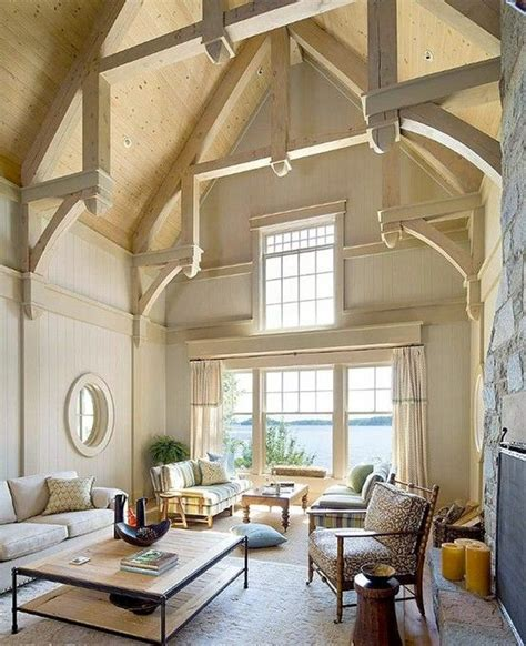 Living Room Ceiling Beams Vaulted Ceiling My Home Living Room
