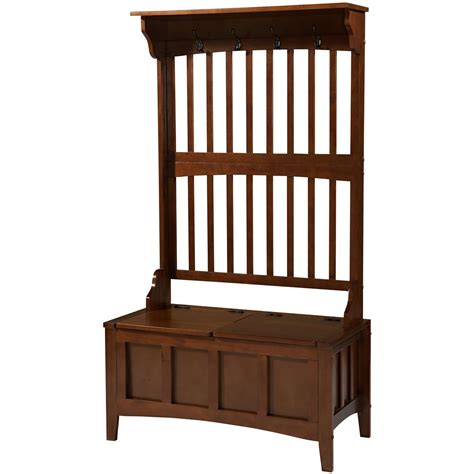 hall tree storage bench linon mission hall tree with storage bench 609778
