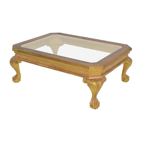 gold and wood coffee table 75 distressed wood antique gold and glass coffee