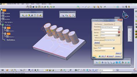 user pattern definition catia rectangular pattern catia v5 youtube