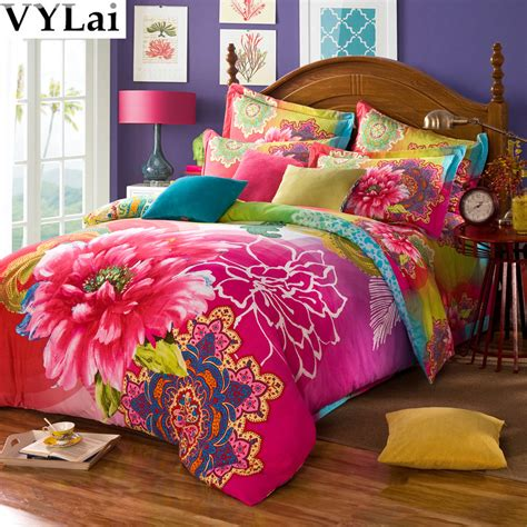 cotton 3d bed sets china vintage floral bedding set 5pcs