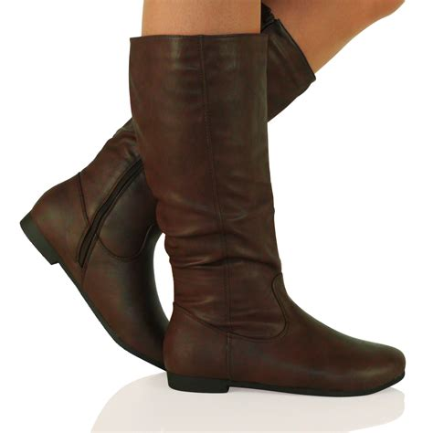 d7y new womens flat zip up mid calf boots knee