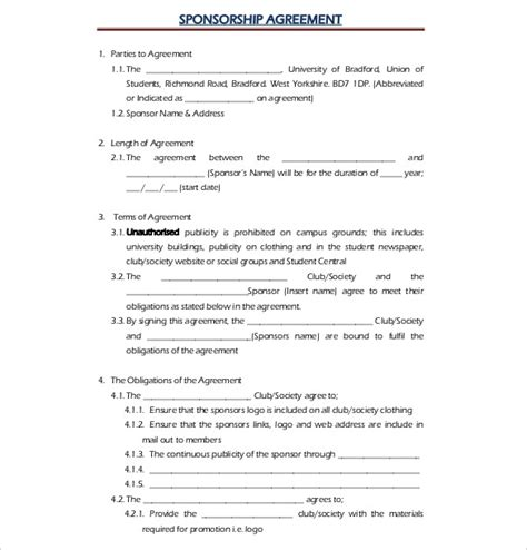 Sponsorship Letter Of Agreement Template sponsor agreement template 15 sponsorship agreement templates free sle exle format emsec