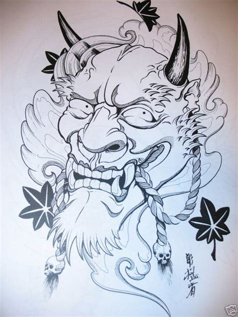 demon mask snake and flower tattoo designs real photo