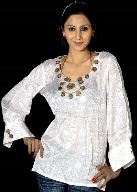 beadwork on kurti ivory designer kurti with beadwork on neck and self design