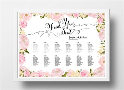 bridal shower seating chart template wedding seating chart poster template wedding table plan