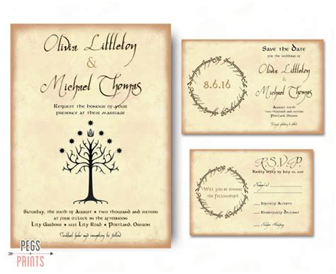 Geek Wedding Invitation Set Lord Of The Rings Wedding Geeky Wedding Invitation Templates