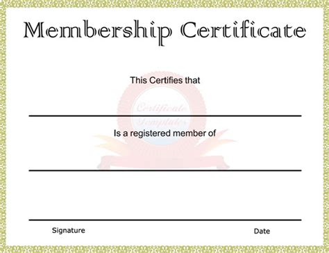 Printable Membership Card Template by Word Certificate Template 49 Free Sles