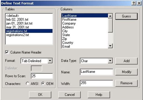 file layout definition connecting to a text file using ado net