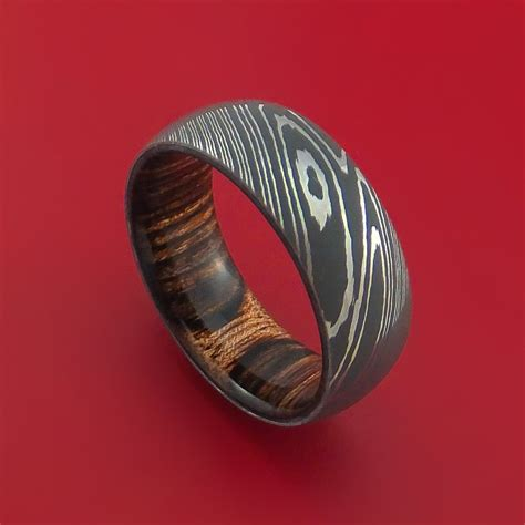 steel ring damascus steel ring with heritage brown hardwood interior