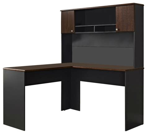 L Shaped Office Computer Desk With Hutch In Slate Grey And Cherry Wood Desk With Hutch