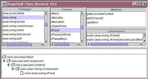 swing class java beanshell user s manual
