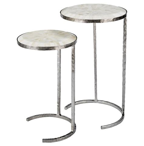 white and silver side table banani modern white bone silver nesting side