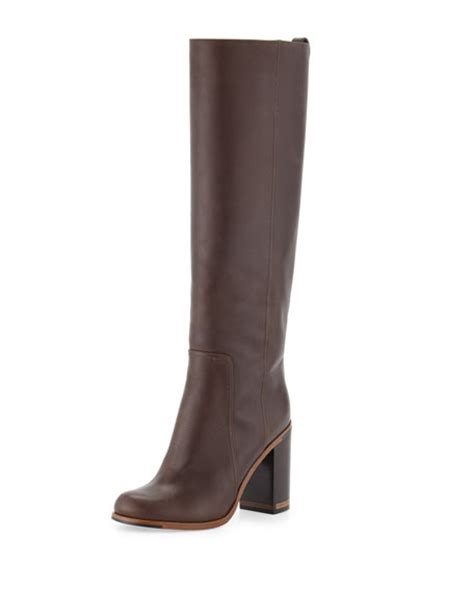 fendi leather block heel knee boot
