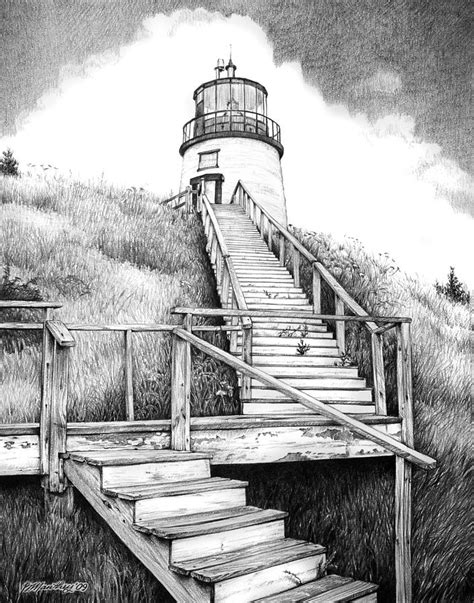 owl s lighthouse drawing by bob manthey
