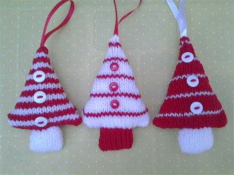 knitted trees christmas tree decorations in red and white