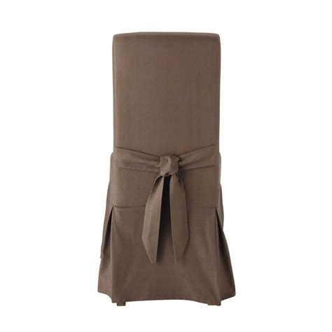 Taupe Chair Covers by Cotton Chair Cover With Bow In Taupe Margaux Maisons Du