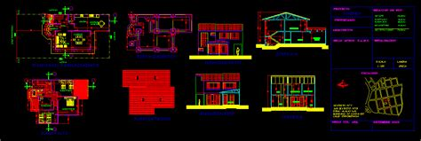 2 Story Home Floor Plans One Family Housing Aguirre Flat Roof In Autocad Drawing