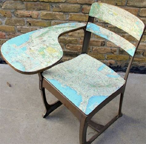 Decoupage Chairs For Sale - upcycled maps nifty homestead